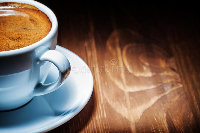 Very close up view white coffee cup with espresso royalty free stock photos