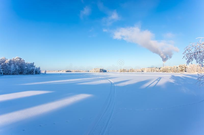 Very cold winter day scenery from Sotkamo, Finland. stock photography