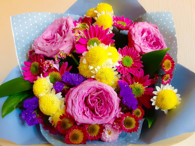 Very colorful bouquet of flowers! stock photo