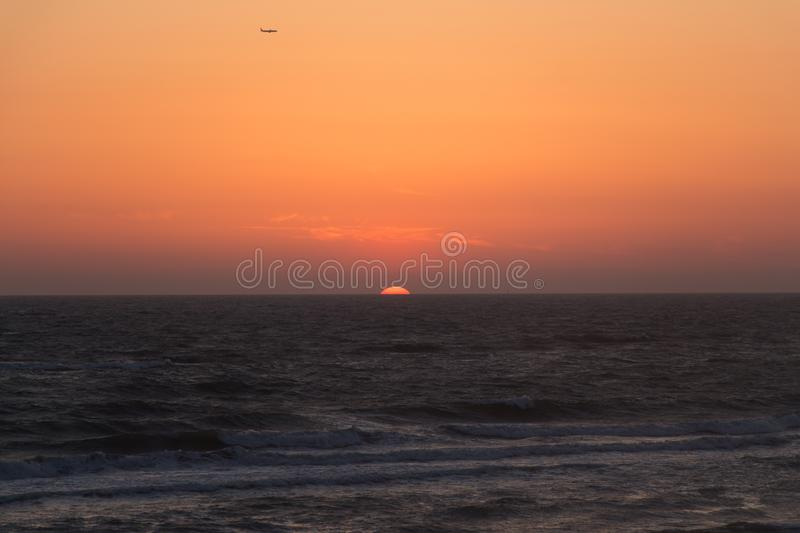Twilight before the sun sets over Tyrrhenian sea. Amazing sunset royalty free stock photos