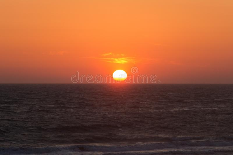 Twilight before the sun sets over Tyrrhenian sea. Amazing sunset stock images