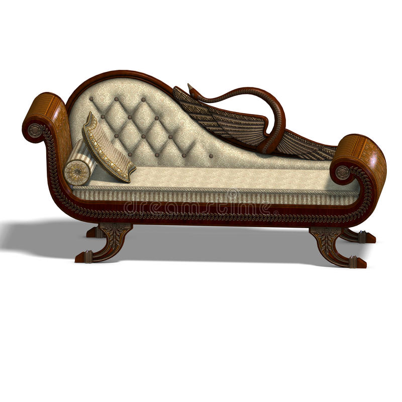 Very comfortable sofa from biedermeier time. 3D rendering of a very comfortable sofa from biedermeier time with clipping path and shadow over white stock illustration