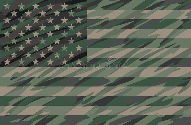 Patriotic Jungle Green Camo USA Flag Vector Illustration royalty free illustration