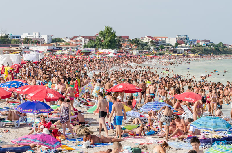 Very Crowded Beach Full Of People royalty free stock image