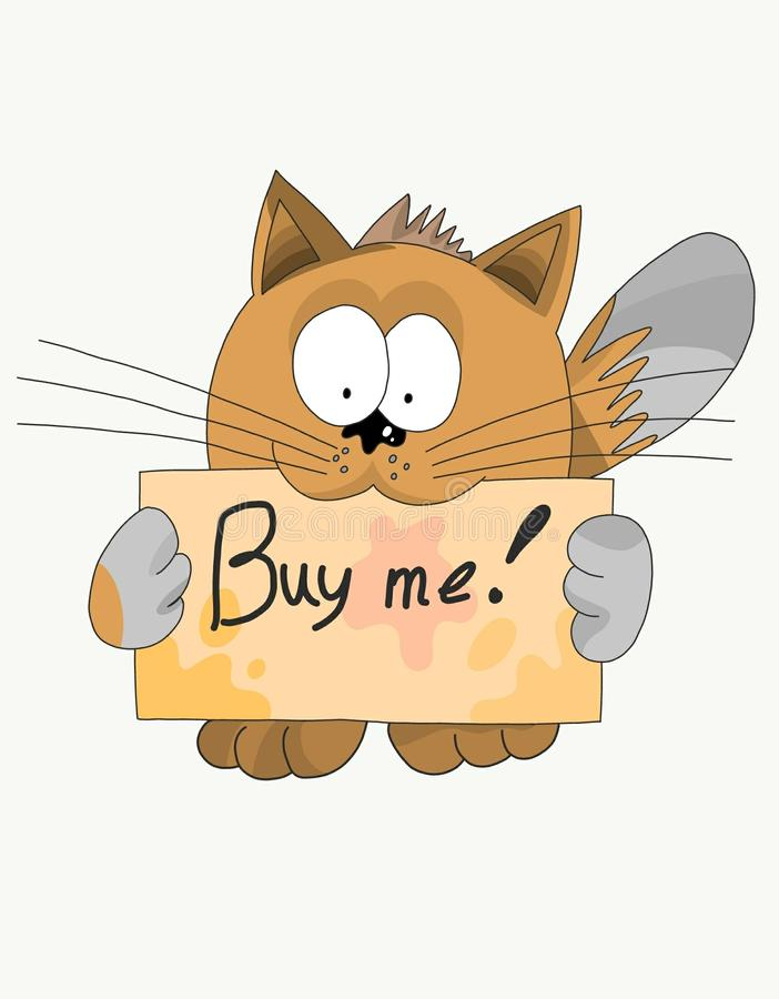 Very cute cat with a sign. That really wants something from him bought royalty free illustration