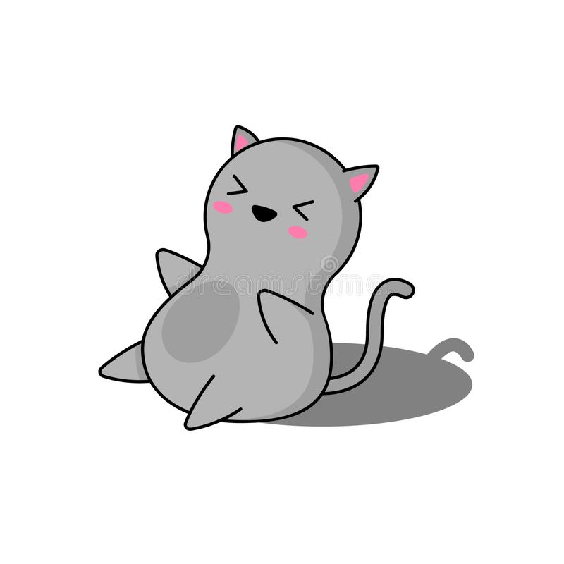 Very cute gray kitten sitting vector illustration