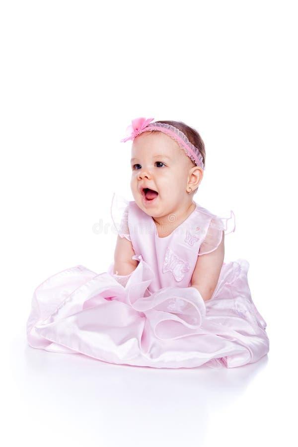 Very cute happy baby girl wearing princess dress royalty free stock image