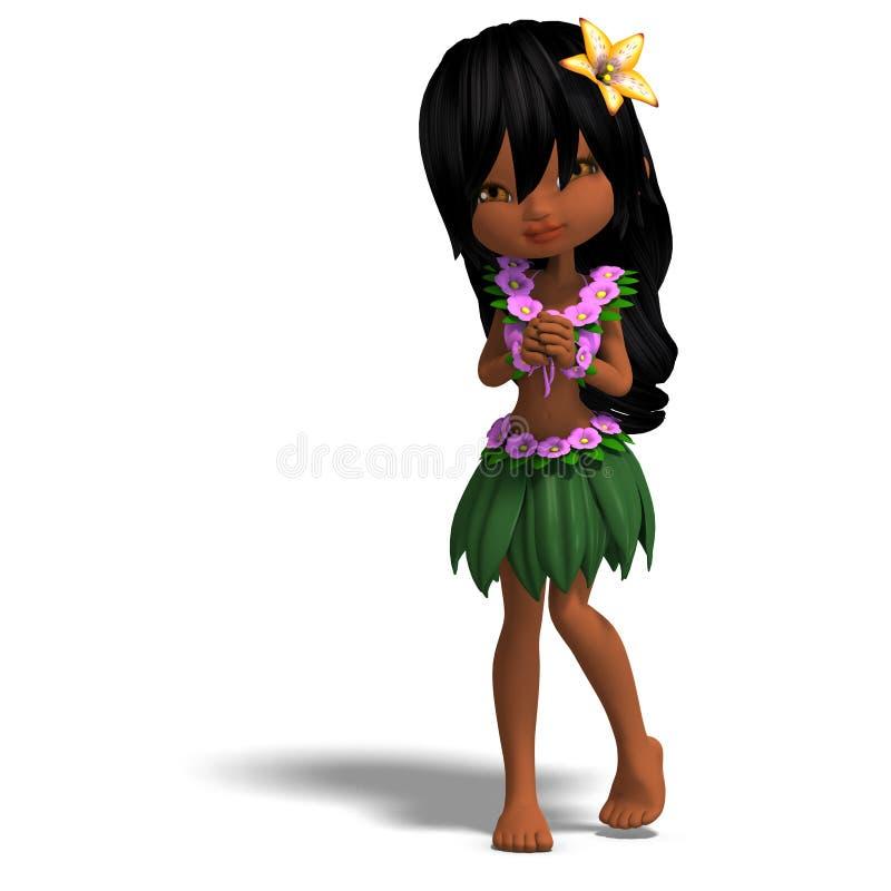Very cute hawaiin cartoon girl is dancing for royalty free illustration