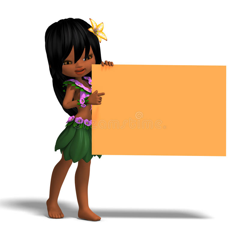 Download Very Cute Hawaiin Cartoon Girl Invites You. 3D Stock Illustration - Image: 14485124