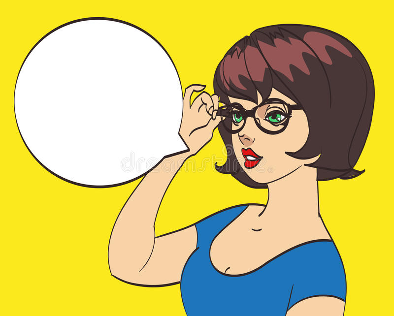 Very cute office girl in glasses in pop art style. Colorful drawing, eps 10.  royalty free illustration
