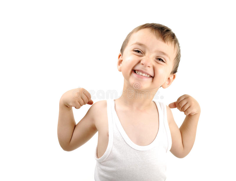 Very Cute Positive Smiling Little Boy Stock Photo