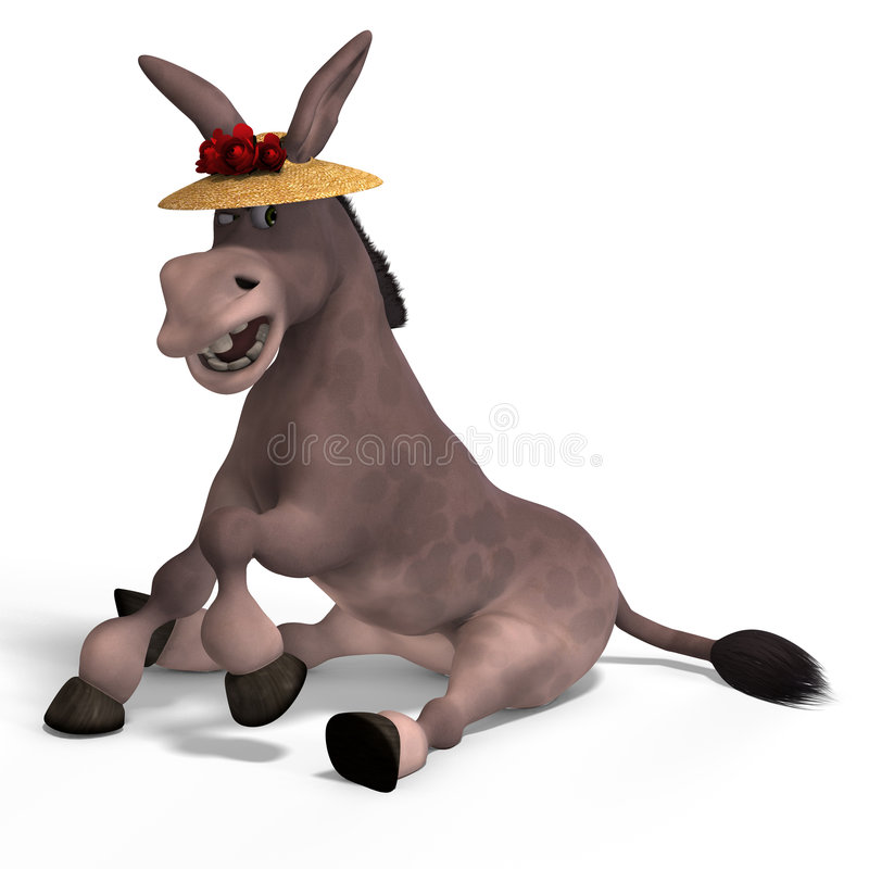 Very cute toon donkey. Sweet cartoon donkey with pretty face over white and clipping Path royalty free illustration