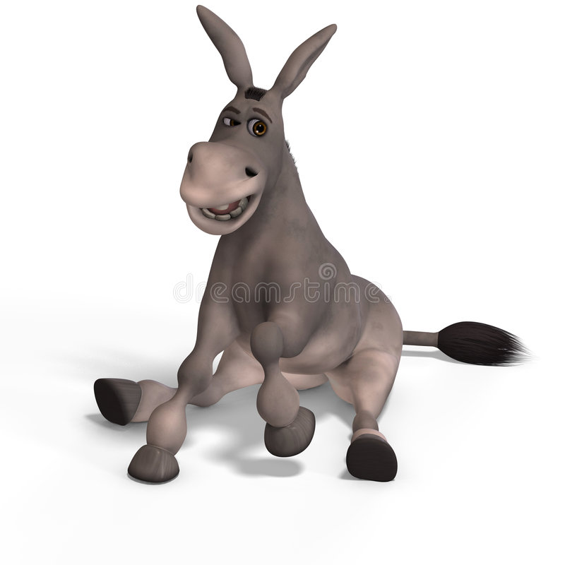 Very cute toon donkey. Sweet cartoon donkey with pretty face over white and clipping Path vector illustration
