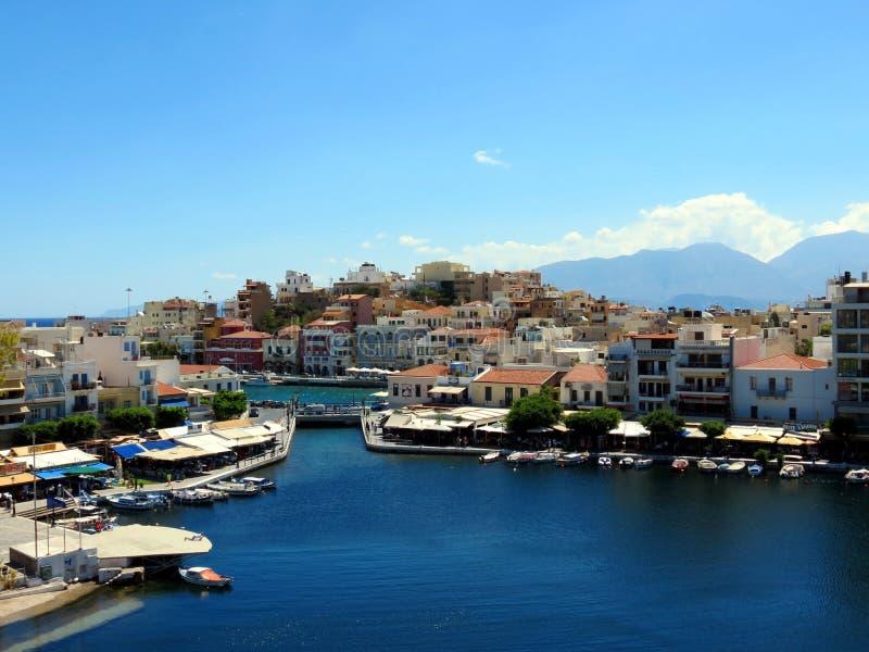 Lake in the center of Agios Nikolaos royalty free stock image