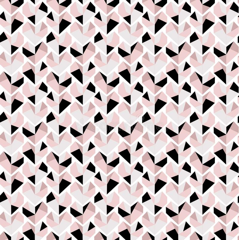 Very delicate Diamond heart seamless pattern in grey black and pink tones royalty free illustration