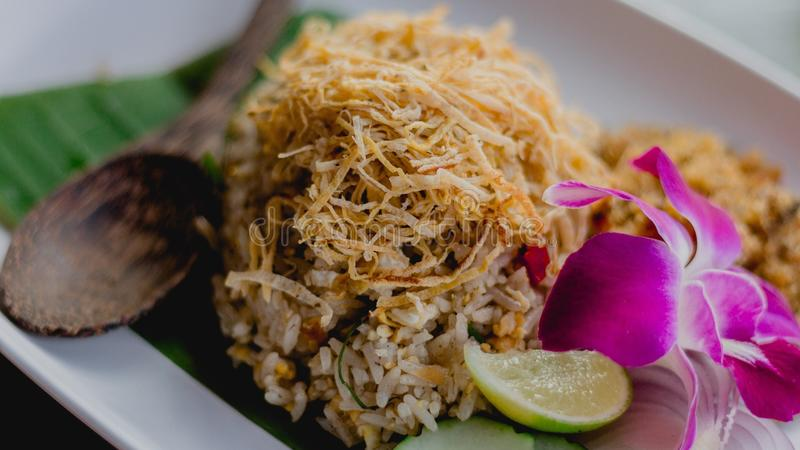Pickled fish fried rice Thai food stock photography