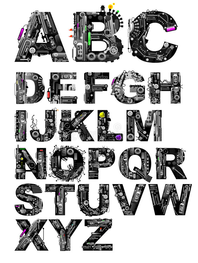 Very detailed vector alphabet royalty free illustration