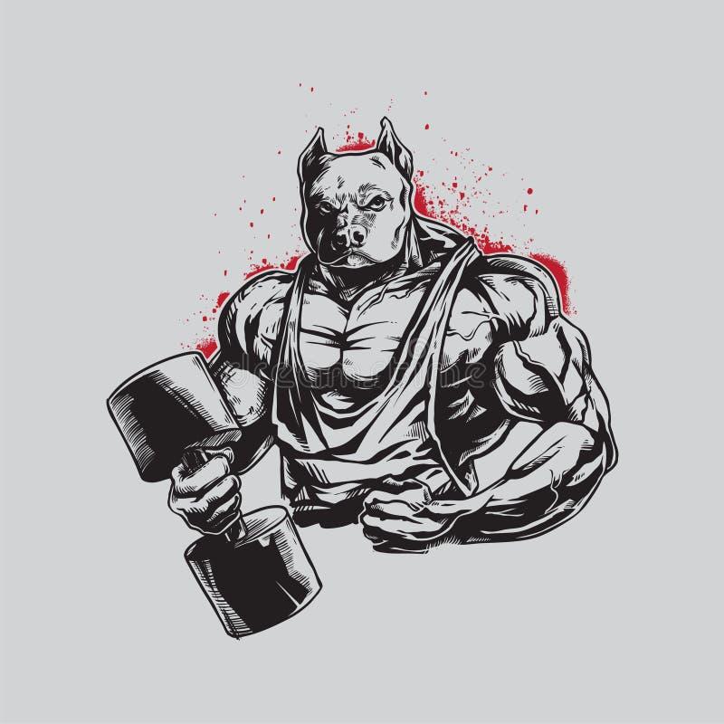 Very Details Handdrawing Body Builder Pitbull for Logo Mascot royalty free illustration