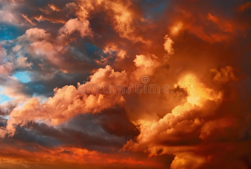 Very dramatic sunset cloudscape stock images