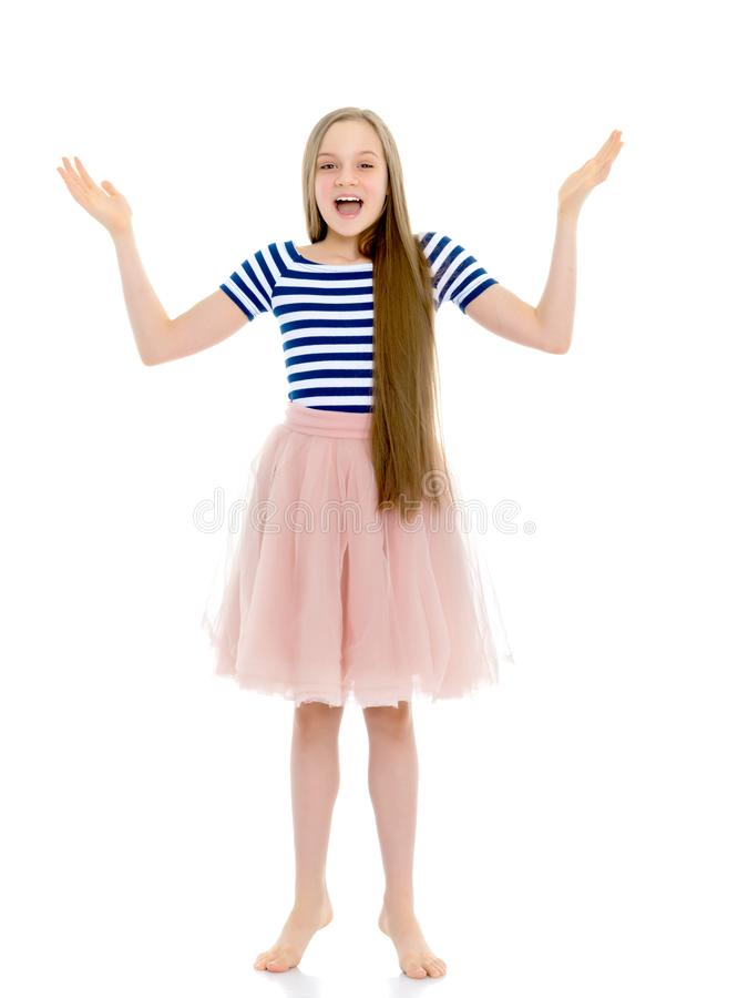 Very emotional little girl. royalty free stock photography