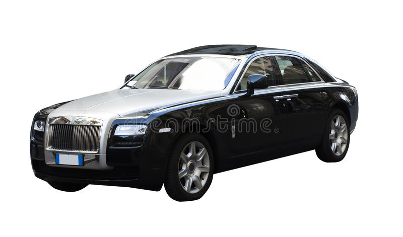 Very expensive luxury car. With open sunroof from rolls royce isolated against white background royalty free stock image