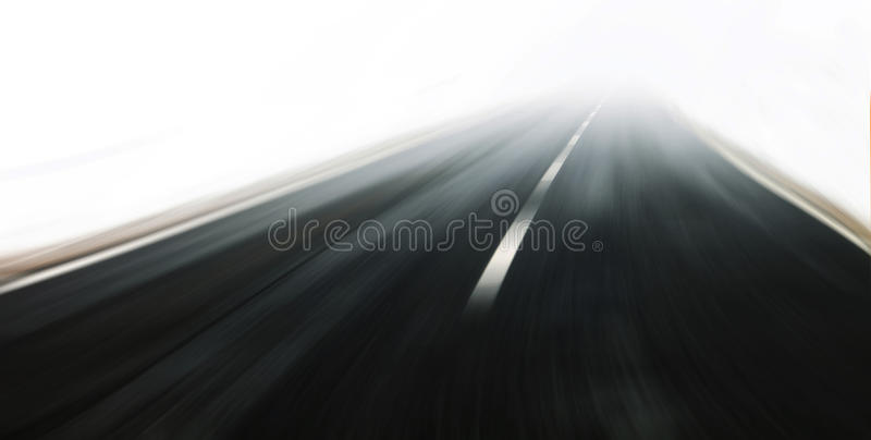 Very fast winter road driving royalty free stock photography