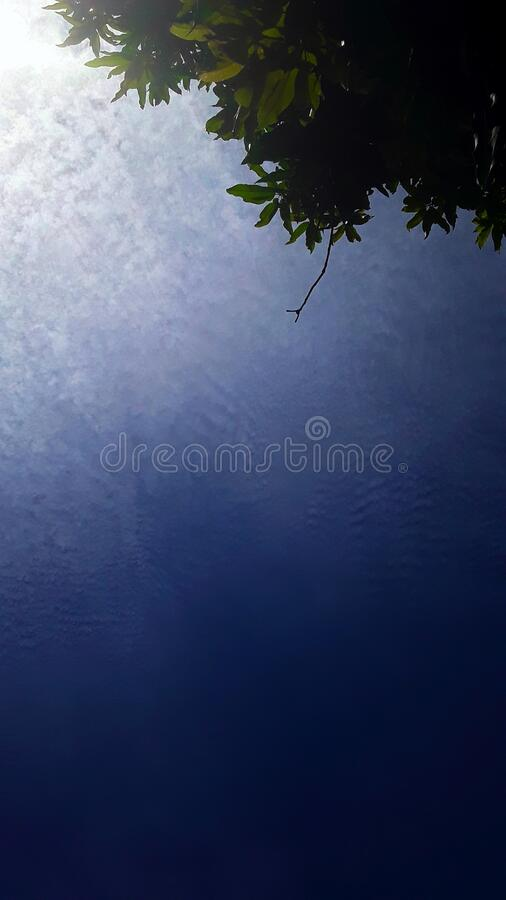 Very few clouds. Amazonian clear skies with very few clouds, the photo shows a gradient between the blue sky and a huge and extremely white cloud contracting stock photos