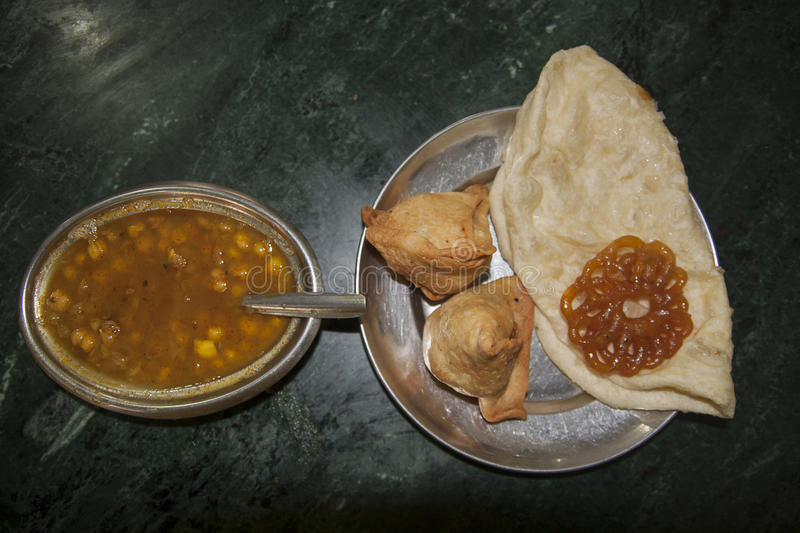 Very good and nice Nepalese food. Example Nepalese cuisine in local restauranr stock image
