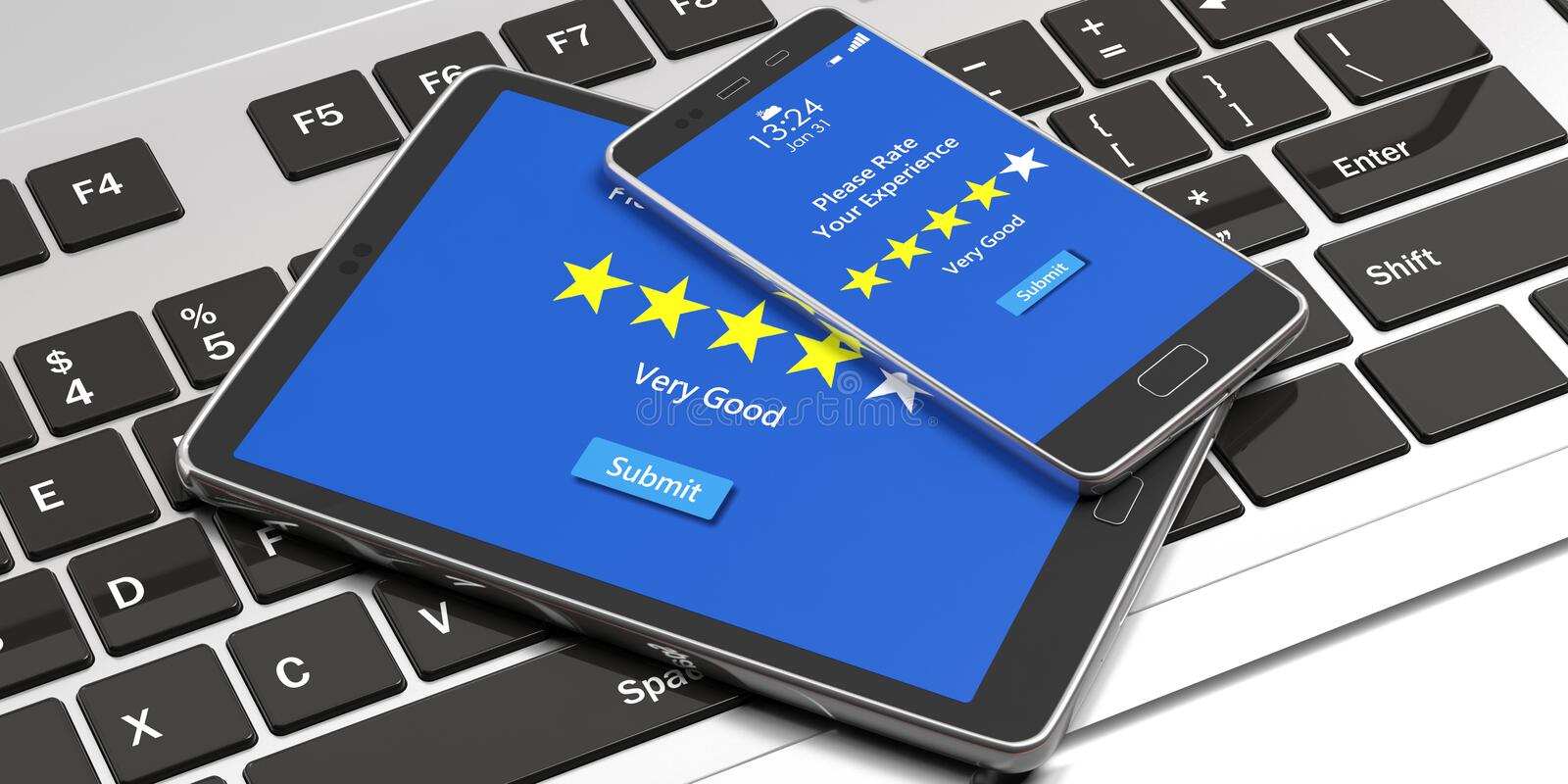 Very good rating on devices screens, computer keyboard background. 3d illustration. Customers feedback, rating, review. 4 stars, very good text on devices royalty free illustration