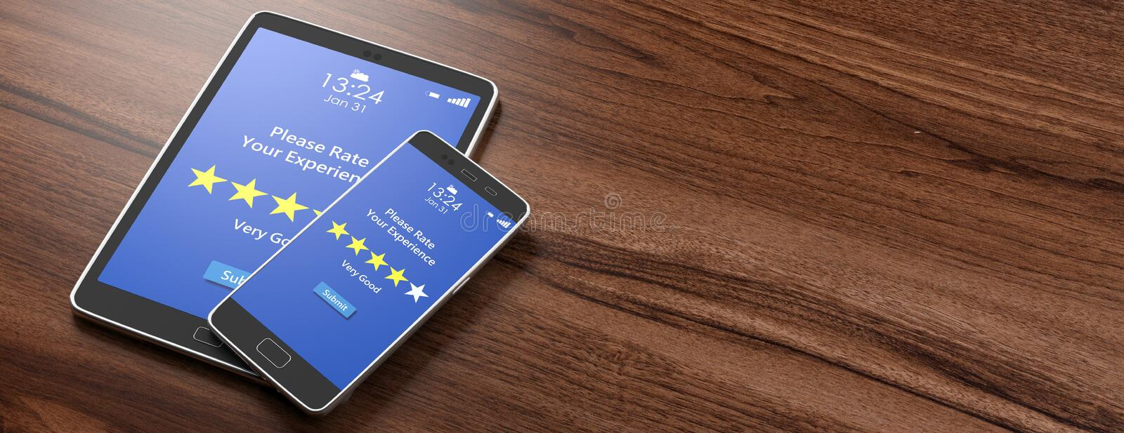 Very good rating on devices screens, wooden background, banner, copy space. 3d illustration. Customers feedback, rating, review. 4 stars, very good text on stock illustration