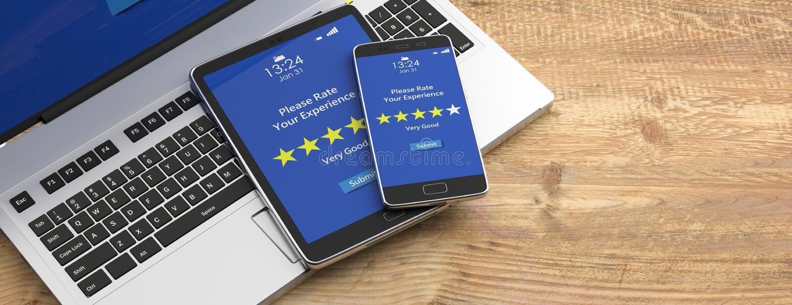 Very good rating on devices screens, wooden background, banner. 3d illustration. Rating, review concept. 4 stars, very good text on devices screens, wooden stock illustration