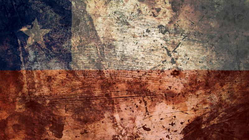 Very Grungy Chilean Flag, Chile Grunge Background Texture stock illustration