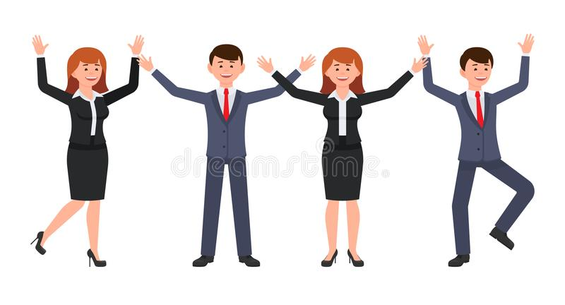 Very happy boss man and woman cartoon character. Vector illustration of smart male ans female clerk in different poses. stock illustration