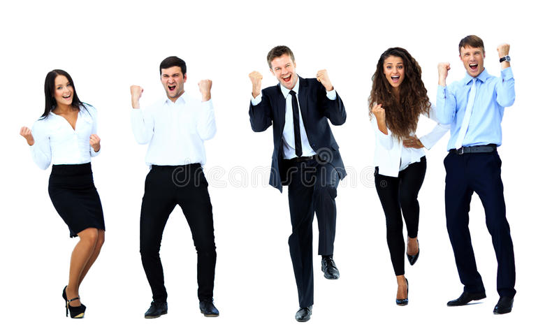Very happy business people jumping royalty free stock images