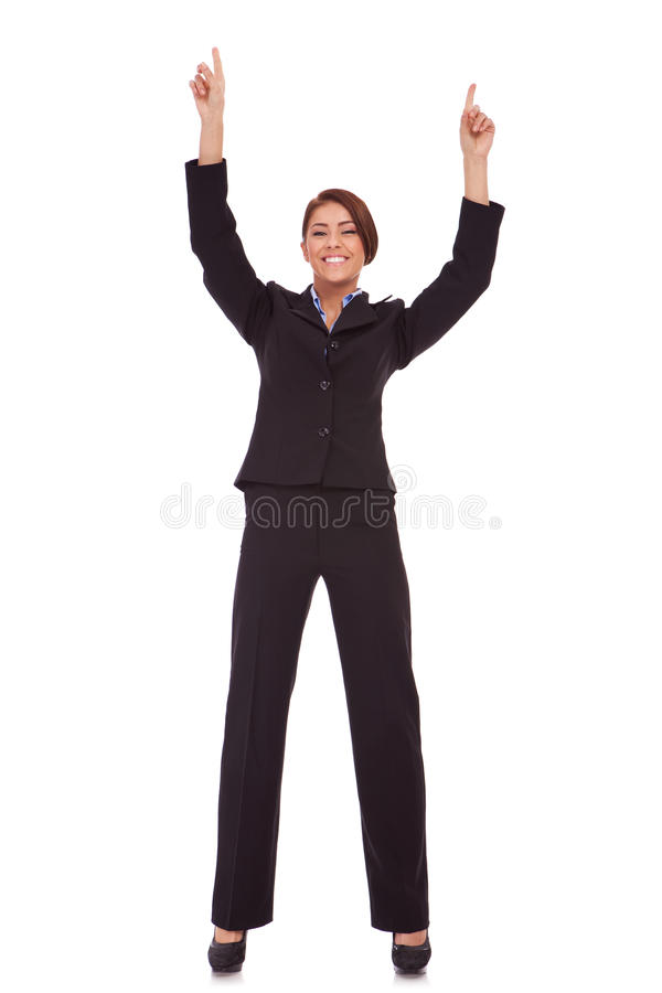 Very Happy Business Woman Winning Royalty Free Stock Photography