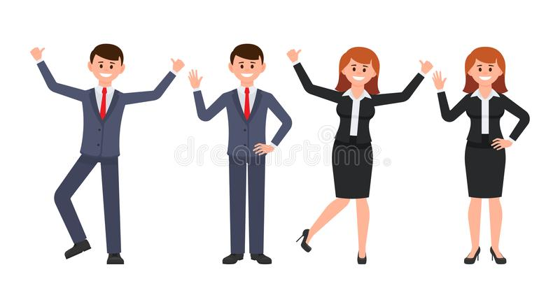 Very happy businessman and businesswoman cartoon character. Vector illustration of smiling male and female in different poses. vector illustration