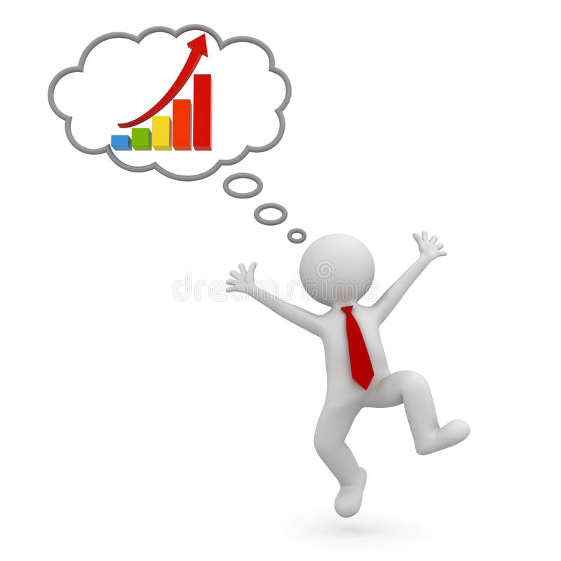 Very happy 3d man celebrating with growth graph chart in thought bubble above his head over white background. 3D rendering royalty free illustration