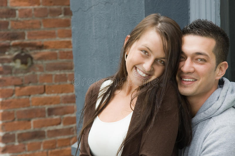 Very Happy Young Diverse Couple royalty free stock image
