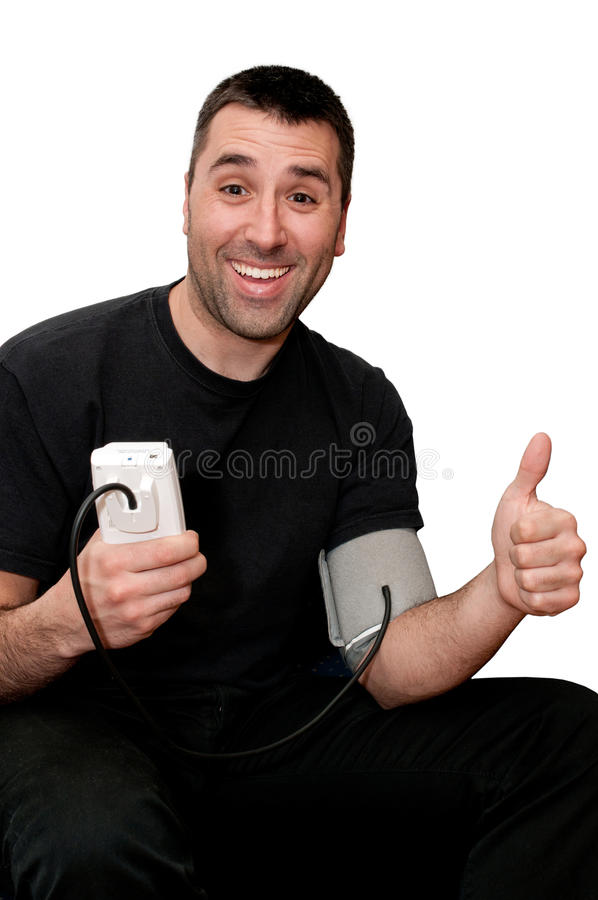 Very happy young man having good blood pressure. Happy young men because he have good blood pressure against white background stock photos