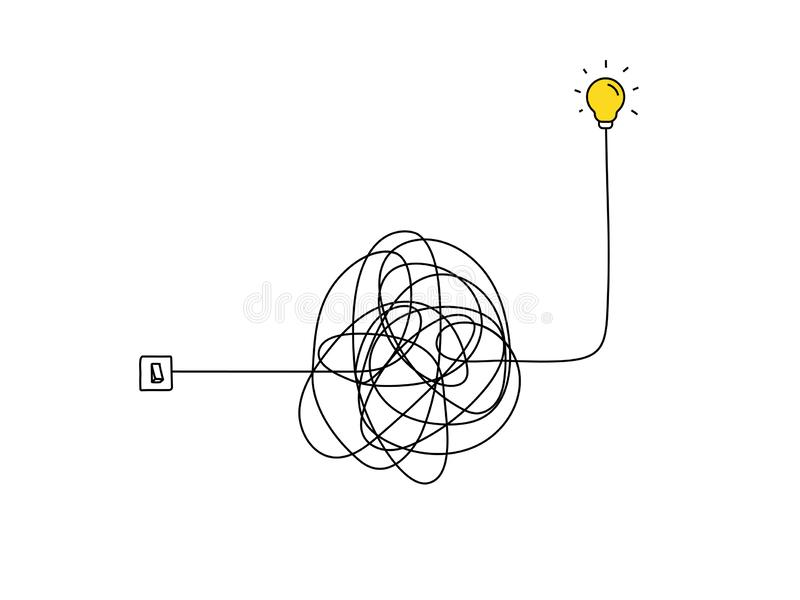 Very hard thinking of inspiration idea through a complicated way illustration. light switch with messy line symbol. tangled vector illustration