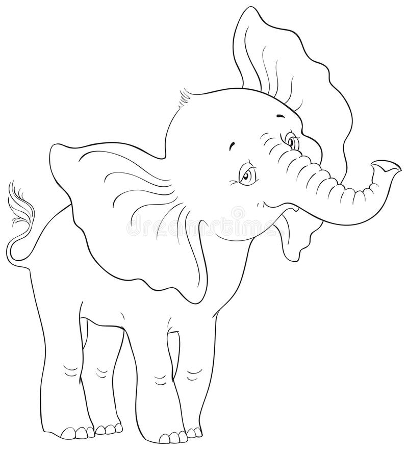 Cute Cartoon Baby Elephant Standing Coloring Page Stock ...