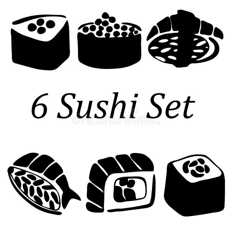 Very high quality original trendy vector illustration of sushi. Set stock illustration