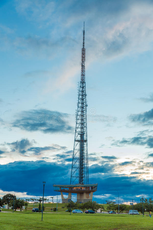 Very high telecommunication tower with blue sky and clouds in Brasilia, Brazil.  stock image