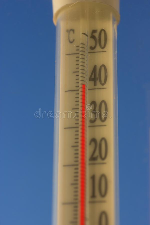 Very high temperature of 43 degrees Celsius royalty free stock photo