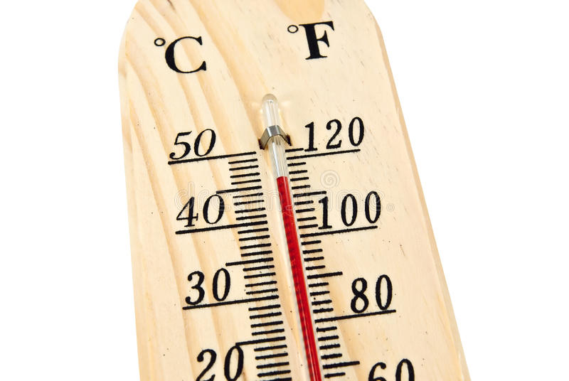 Very hot. Close up shot of a thermometer showing very hot temperature stock photos