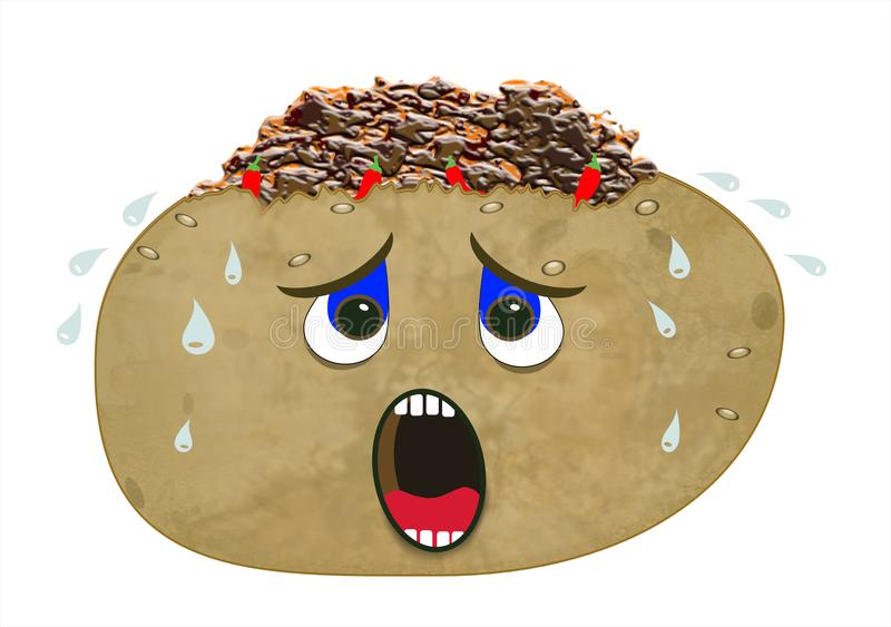 Very hot jacket potato with chilli. An extremely hot baked jacket potato filled with chilli con carne and red chillies isolated on a white background. The potato royalty free illustration
