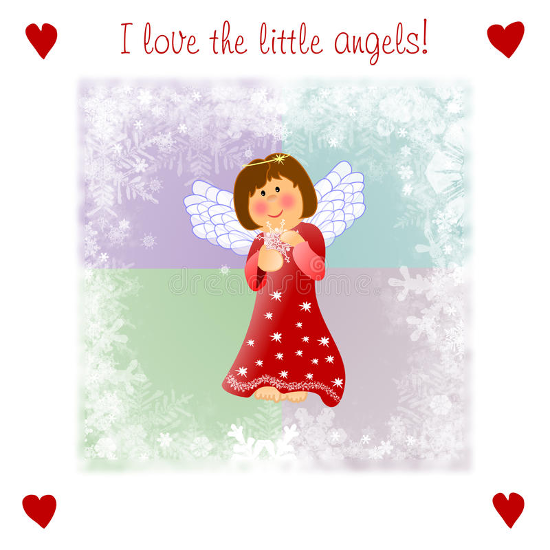 Download Very Kind Christmas Illustrationwith Little Angel Stock Illustration - Image: 16186643