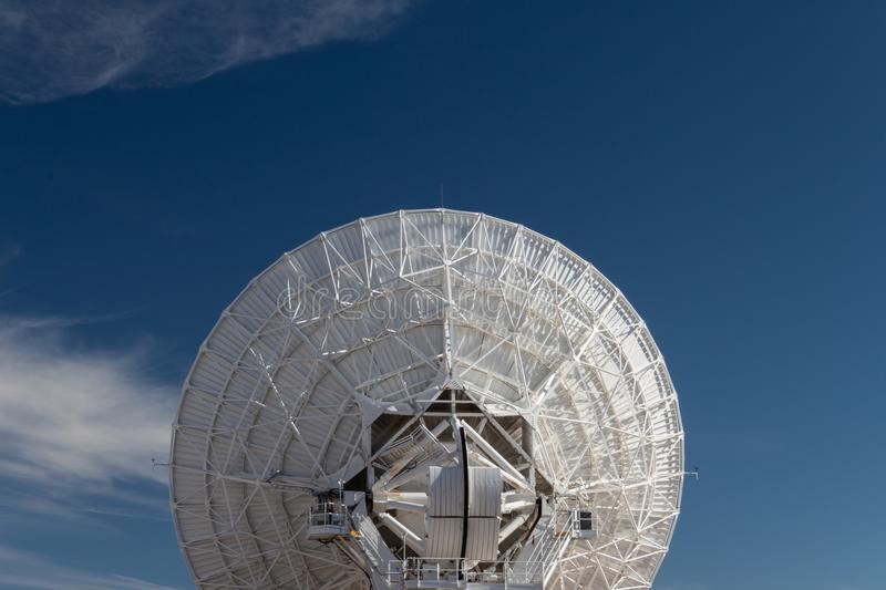 Very Large Array centered rear view of radio astronomy observatory dishes, science technology. Copy space, horizontal aspect stock image