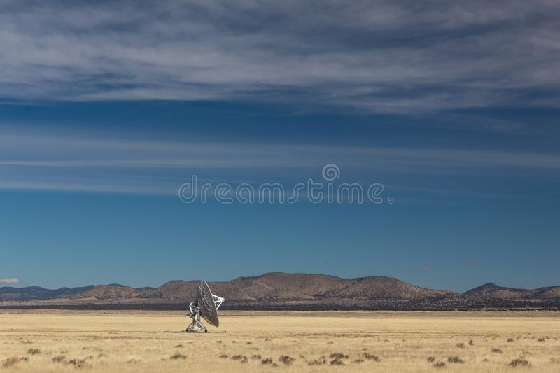 Very Large Array lone radio astronomy dish alone in the desert, science technology space. Horizontal aspect stock image
