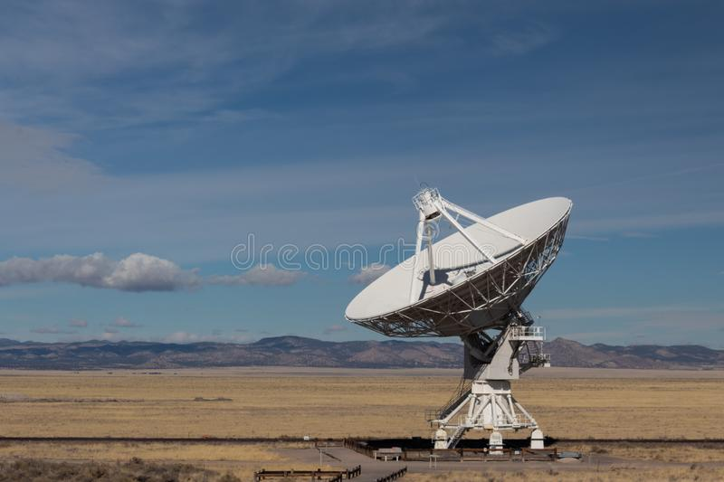 Very Large Array radio astronomy observatory dish in the New Mexico desert, technology and science. Copy space, horizontal aspect royalty free stock photography
